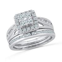 10kt White Gold Womens Round Diamond Cluster Bridal Wedding Engagement Ring Band Set 1.00 Cttw