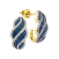 10kt Yellow Gold Womens Round Blue Color Enhanced Diamond J Half Hoop Earrings 1/10 Cttw