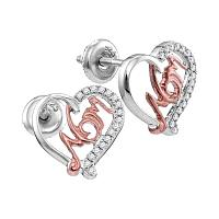 10kt White Gold Womens Round Diamond Heart Mom Screwback Stud Earrings 1/6 Cttw
