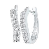10kt White Gold Womens Round Diamond Hoop Earrings 1/5 Cttw