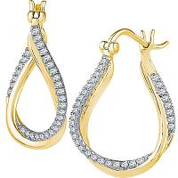 10kt Yellow Gold Womens Round Diamond Oval Hoop Earrings 1/2 Cttw
