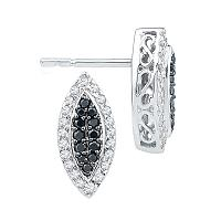 10kt White Gold Womens Round Black Color Enhanced Diamond Oval Cluster Screwback Earrings 1/3 Cttw