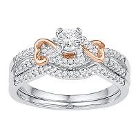 10kt Two-tone Gold Womens Round Diamond Bridal Wedding Engagement Ring Band Set 1/3 Cttw