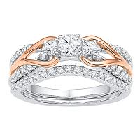 14kt White Gold Rose-tone Womens Round Diamond Knot Bridal Wedding Engagement Ring Band Set 5/8 Cttw
