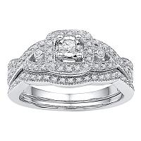 10kt White Gold Womens Round Diamond Twist Bridal Wedding Engagement Ring Band Set 1/4 Cttw