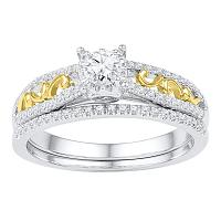 10kt Two-tone Gold Womens Round Diamond Bridal Wedding Engagement Ring Band Set 1/2 Cttw