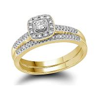 10kt Yellow Gold Womens Princess Diamond Square Halo Bridal Wedding Engagement Ring Band Set 1/3 Cttw