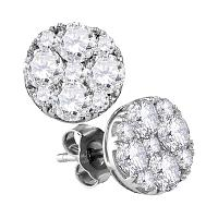 10kt White Gold Womens Round Diamond Cluster Screwback Earrings 1-3/4 Cttw