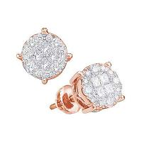 14kt Rose Gold Womens Princess Round Diamond Soleil Cluster Earrings 1/2 Cttw