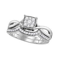10k White Gold Womens Diamond Flower Cluster Bridal Wedding Engagement Ring Band Set 1/3 Cttw