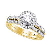 14kt Yellow Gold Womens Round Diamond Halo Bridal Wedding Engagement Ring Band Set 1-1/3 Cttw
