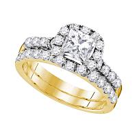 14kt Yellow Gold Womens Princess Diamond Bridal Wedding Engagement Ring Band Set 1-7/8 Cttw