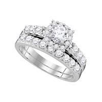 14k White Gold Womens Round Diamond Halo Bridal Wedding Engagement Ring Band Set 1-1/2 Cttw