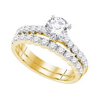 14kt Yellow Gold Womens Round Diamond Bridal Wedding Engagement Ring Band Set 2-1/5 Cttw