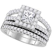 14kt White Gold Womens Princess Diamond Split-shank Bridal Wedding Engagement Ring Band Set 3/4 Cttw