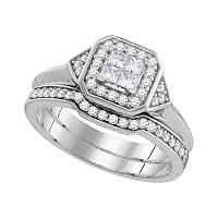10kt White Gold Womens Princess Diamond Halo Bridal Wedding Engagement Ring Band Set 1/2 Cttw