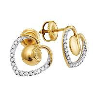 10kt Yellow Gold Womens Round Diamond Heart Screwback Earrings 1/4 Cttw