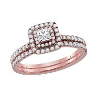 10kt Rose Gold Womens Princess Diamond Bridal Wedding Engagement Ring Band Set 3/4 Cttw