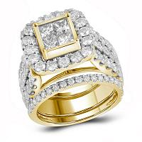 14kt Yellow Gold Womens Princess Diamond 3-Piece Bridal Wedding Engagement Ring Band Set 4.00 Cttw