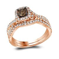 14kt Rose Gold Womens Round Cognac-brown Diamond Bridal Wedding Engagement Ring Band Set 1Cttw