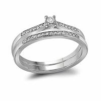 10kt White Gold Womens Round Diamond Bridal Wedding Engagement Ring Band Set 1/8 Cttw