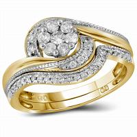 14kt Yellow Gold Womens Round Diamond Flower Cluster Milgrain Bridal Wedding Engagement Ring Band Set 3/8 Cttw