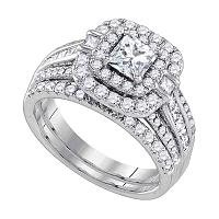 14kt White Gold Womens Diamond Princess Double Halo Bridal Wedding Engagement Ring Set 2 Cttw