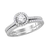 14k White Gold Womens Round Diamond Slender Bridal Wedding Engagement Ring Band Set 7/8 Cttw