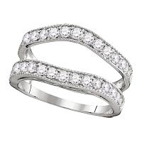 14kt White Gold Womens Round Diamond Ring Guard Wrap Solitaire Enhancer 1.00 Cttw