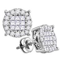 14kt White Gold Womens Princess Round Diamond Soleil Cluster Stud Earrings 1/4 Cttw
