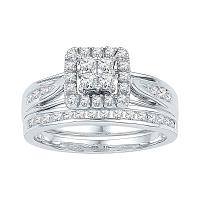 10kt White Gold Womens Round Diamond Square Cluster Bridal Wedding Engagement Ring Band Set 1-1/2 Cttw