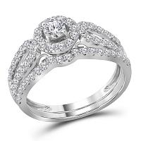 14kt White Gold Womens Round Diamond Halo Split-shank Bridal Wedding Engagement Ring Band Set 1.00 Cttw (Certified)
