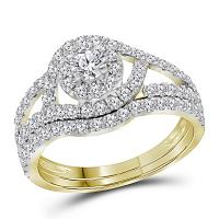 14kt Yellow Gold Womens Round Diamond Certified Halo Bridal Wedding Engagement Ring Band Set 1-1/4 Cttw
