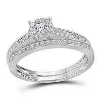 14kt White Gold Womens Round Diamond Slender Halo Bridal Wedding Engagement Ring Band Set 1/2 Cttw