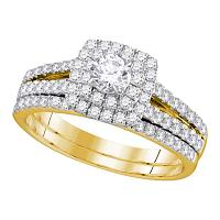 14kt Yellow Gold Womens Round Diamond Halo Bridal Wedding Engagement Ring Band Set 1.00 Cttw (Certified)