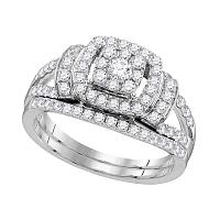 14kt White Gold Womens Diamond Framed Cluster Bridal Wedding Engagement Ring Band Set 1.00 Cttw
