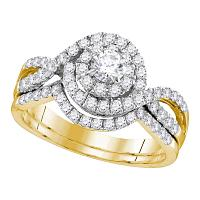 14kt Yellow Gold Womens Round Diamond Swirl Bridal Wedding Engagement Ring Band Set 1.00 Cttw (Certified)