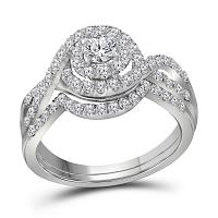 14kt White Gold Womens Round Diamond Swirl Halo Bridal Wedding Engagement Ring Band Set 1.00 Cttw (Certified)