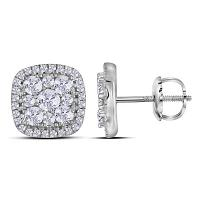 10kt White Gold Womens Round Diamond Framed Square Cluster Screwback Earrings 1.00 Cttw