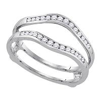 14k White Gold Womens Round Diamond Wedding Bridal Enhancer Band Wrap 1.00 Cttw