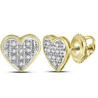 10kt Yellow Gold Womens Round Diamond Heart Cluster Stud Earrings 1/20 Cttw