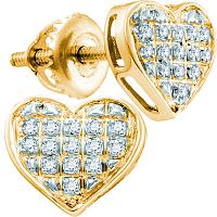10kt Yellow Gold Womens Round Diamond Heart Cluster Screwback Earrings 1/4 Cttw