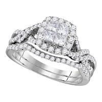 14kt White Gold Womens Princess Diamond Twist Bridal Wedding Engagement Ring Band Set 1.00 Cttw