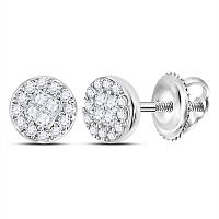 14kt White Gold Womens Princess Round Diamond Soleil Cluster Earrings 1/6 Cttw