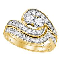 14kt Yellow Gold Womens Round 2-Stone Diamond Bridal Wedding Engagement Ring Band Set 1.00 Cttw