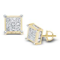 14kt Yellow Gold Womens Princess Diamond Square Cluster Stud Earrings 3/4 Cttw
