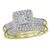 10kt Yellow Gold Womens Princess Diamond Halo Bridal Wedding Engagement Ring Band Set 1.00 Cttw