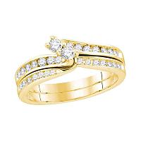 14kt Yellow Gold Womens Round Diamond 2-Stone Hearts Together Bridal Wedding Engagement Ring Band Set 1/2 Cttw