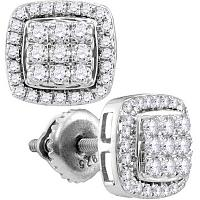 10kt White Gold Womens Round Diamond Square Cluster Screwback Earrings 7/8 Cttw