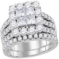 14kt White Gold Womens Princess Diamond Cluster Bridal Wedding Engagement Ring Band Set 3.00 Cttw
